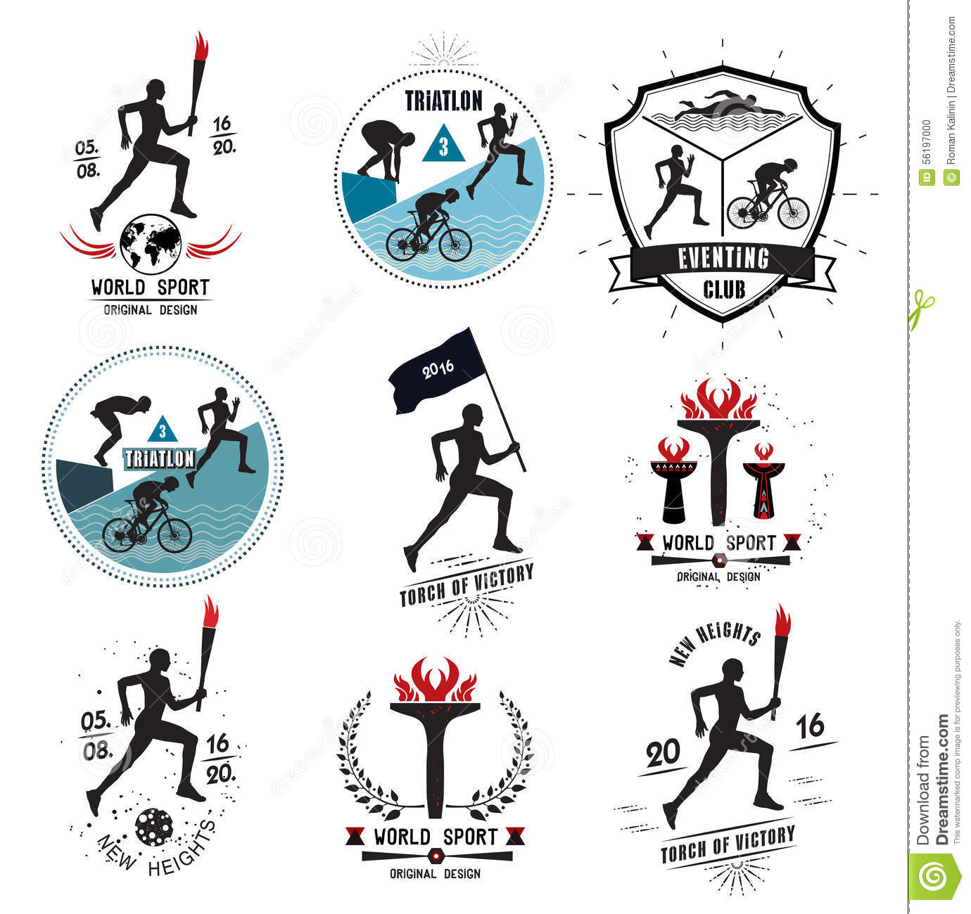 A Set Of Sports Logos, Emblems And Design Elements. Stock Vector ...