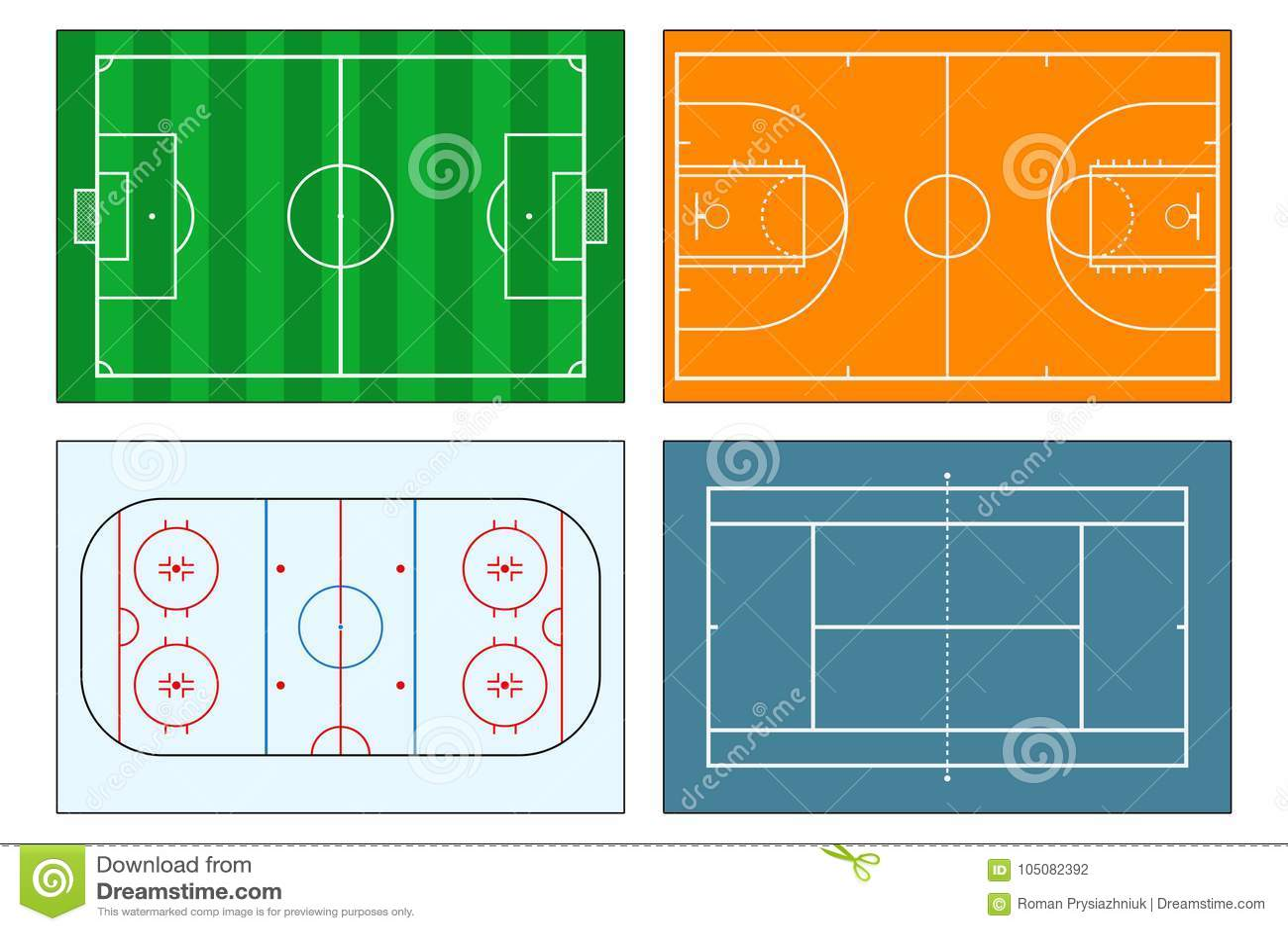 Color Sport Background Football Basketball Hockey Stock: Football Field Scheme Cartoon Vector