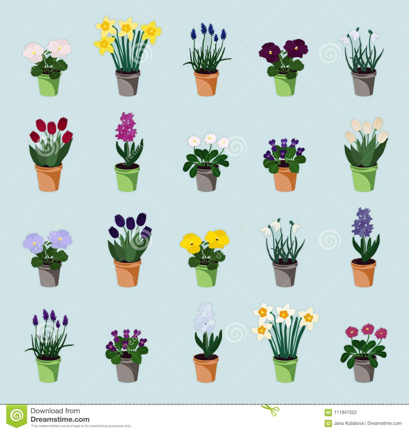 Potted Spring Flowers Stock Vector Illustration Of Violet 111947022