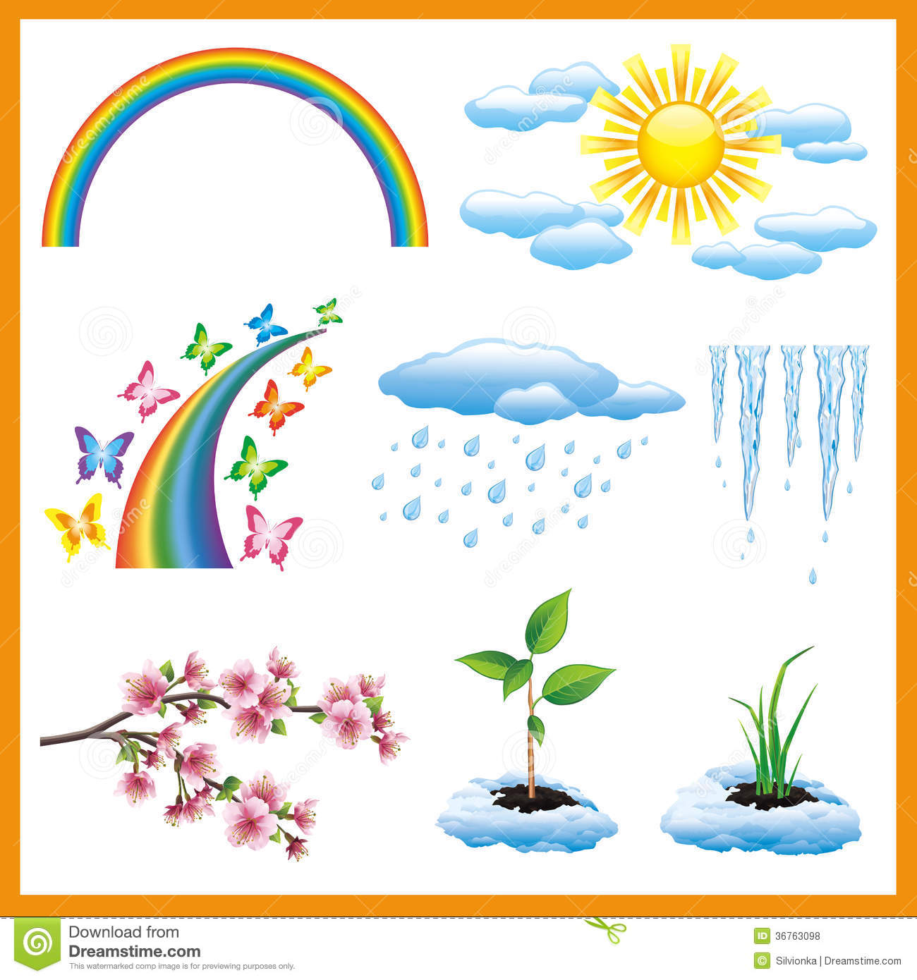 set of spring nature object  vector icon stock vector