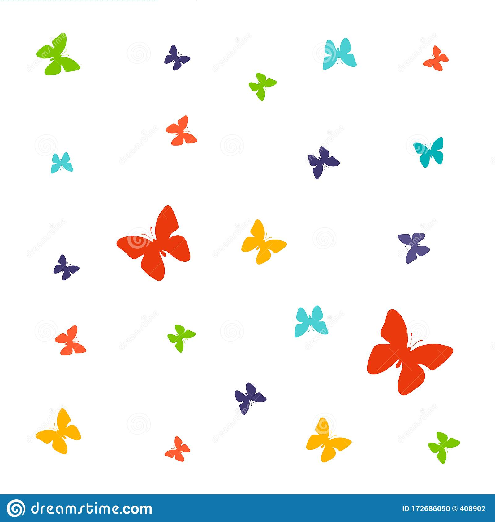 Set Of Spring Vector Drawings Of Butterflies Stock Illustration Illustration Of Drawings Childrens 172686050