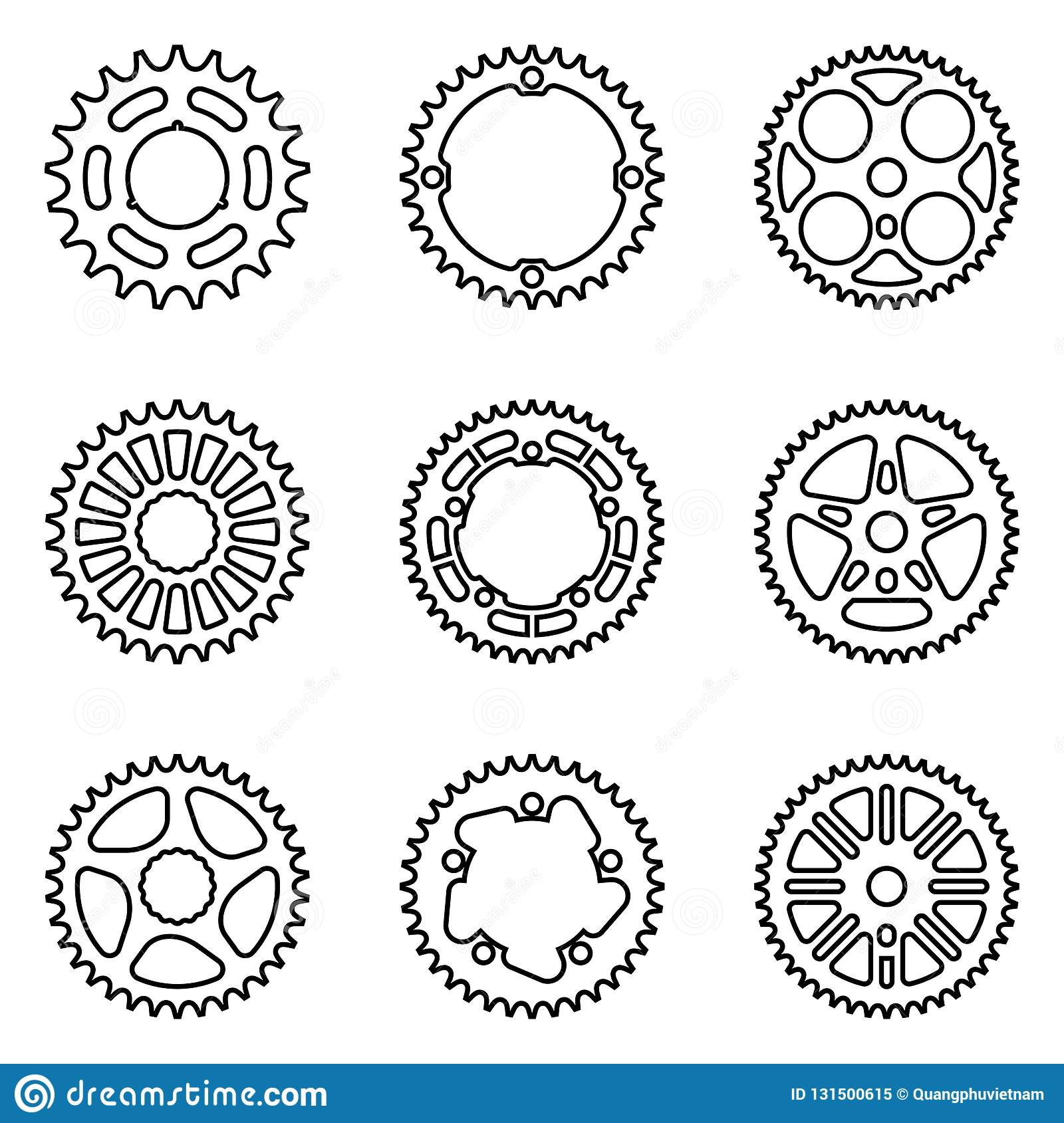 Set Of Sprocket Wheels Bicycle Parts Thin Line Vector Stock Vector