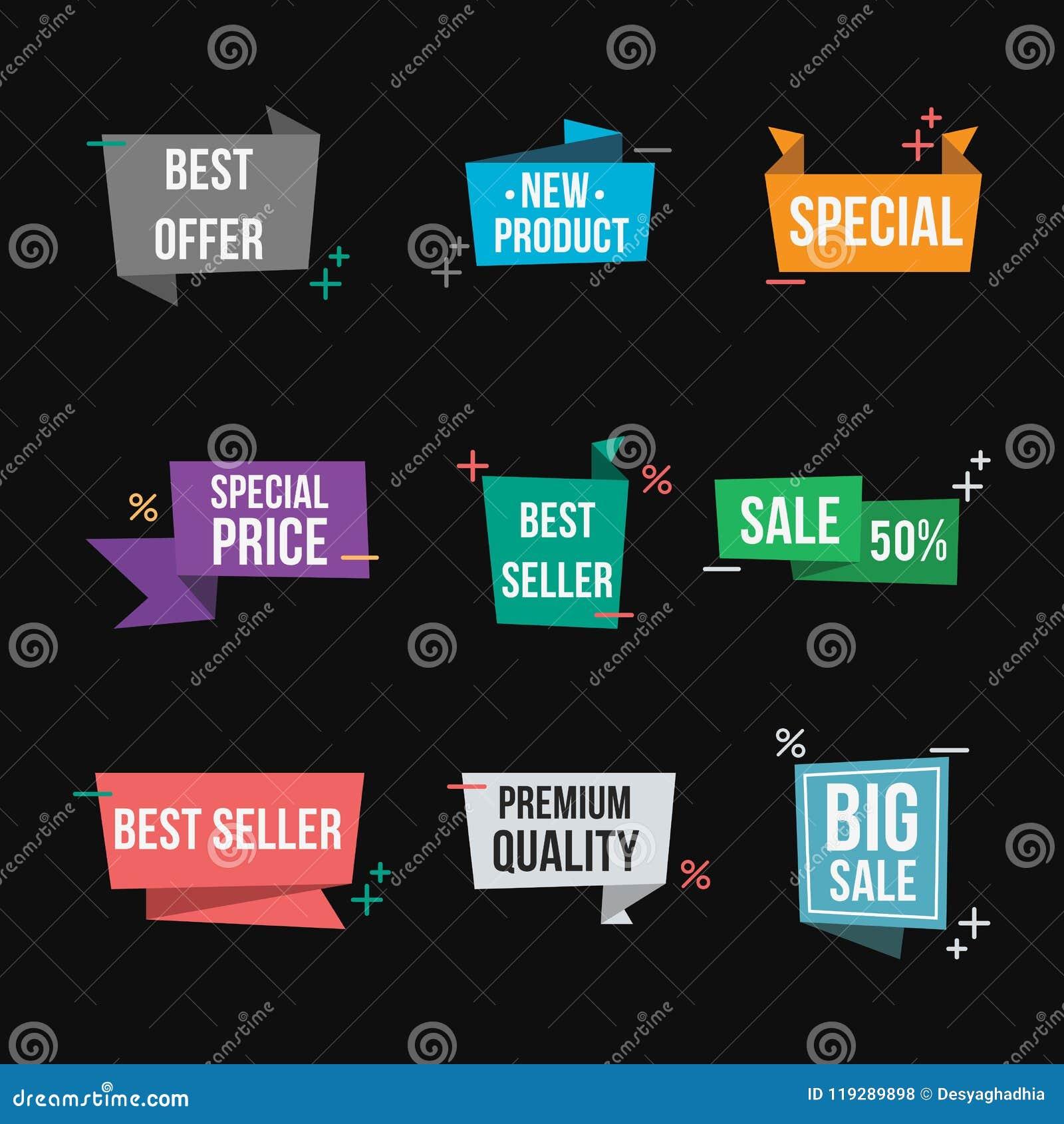 Set sprzedaż sztandary Odosobnione promo foki, sztandaru projekta element/