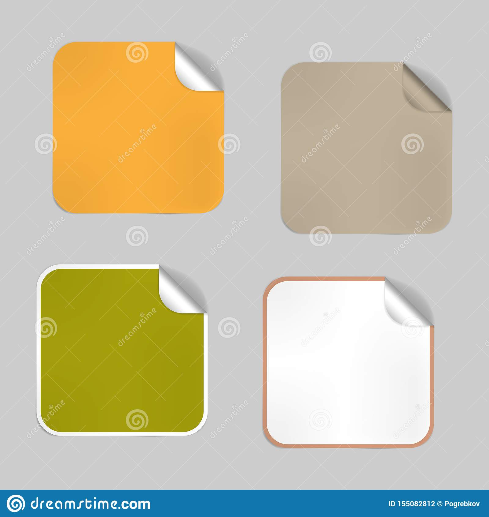 Set Of Square Blank Empty Stickers With Peeled Off Corner  Mockup  Aluminium Foil Lids  Adhesive