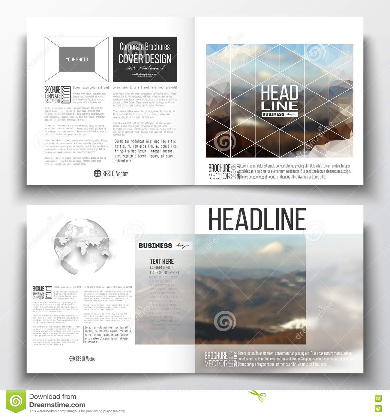 Set Of Square Design Brochure Template. Abstract Colorful Polygonal ...