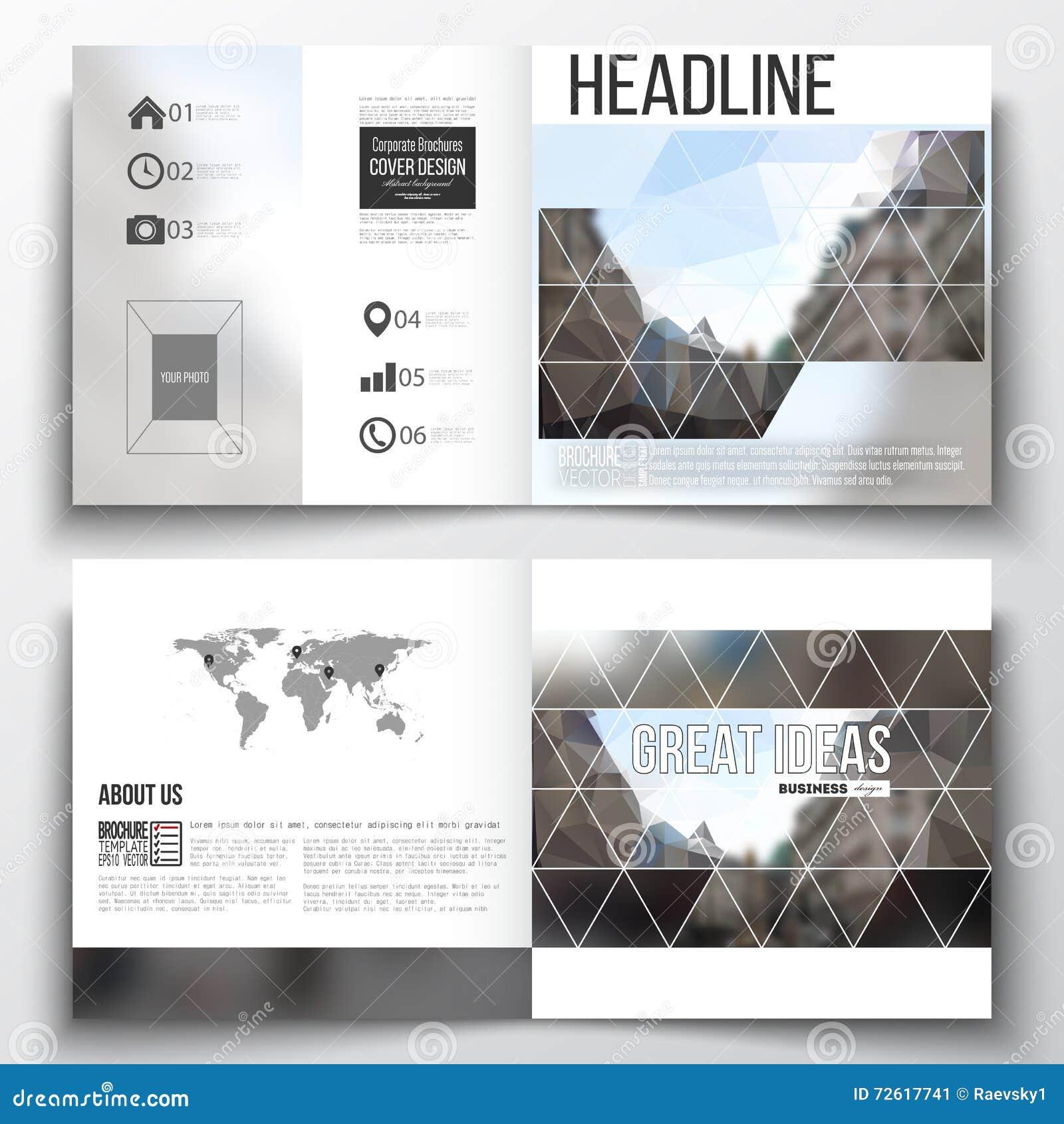 set of square design brochure template polygonal background