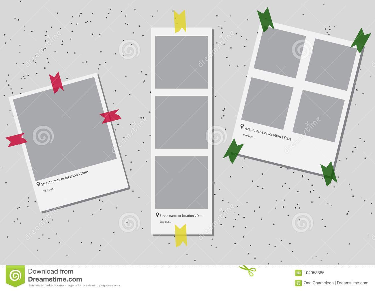 A Set Of Square Frame Template With Shadows And With Colored Tape