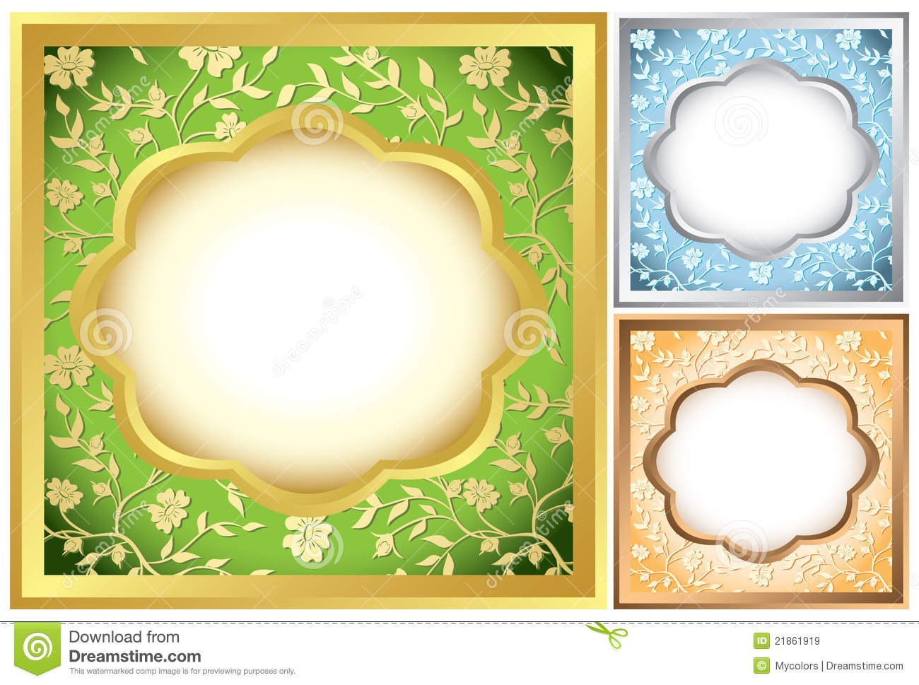 set of square frames with flora vector