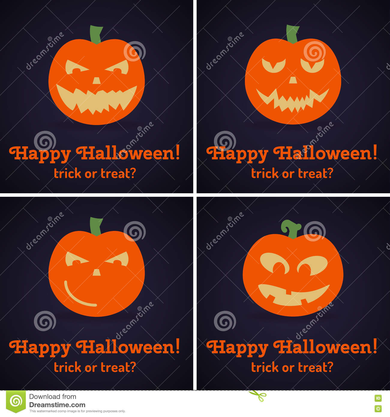 Set Of Square Greeting Cards For Halloween Stock Vector