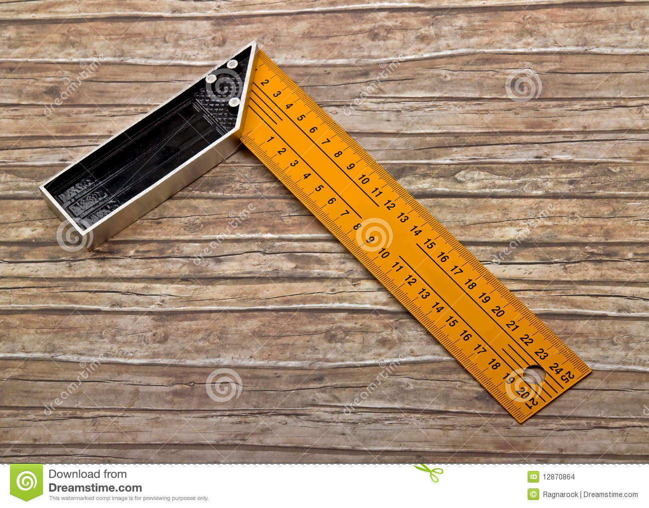 Set-square Isolated On Old Wood Stock Images - Image: 12870864