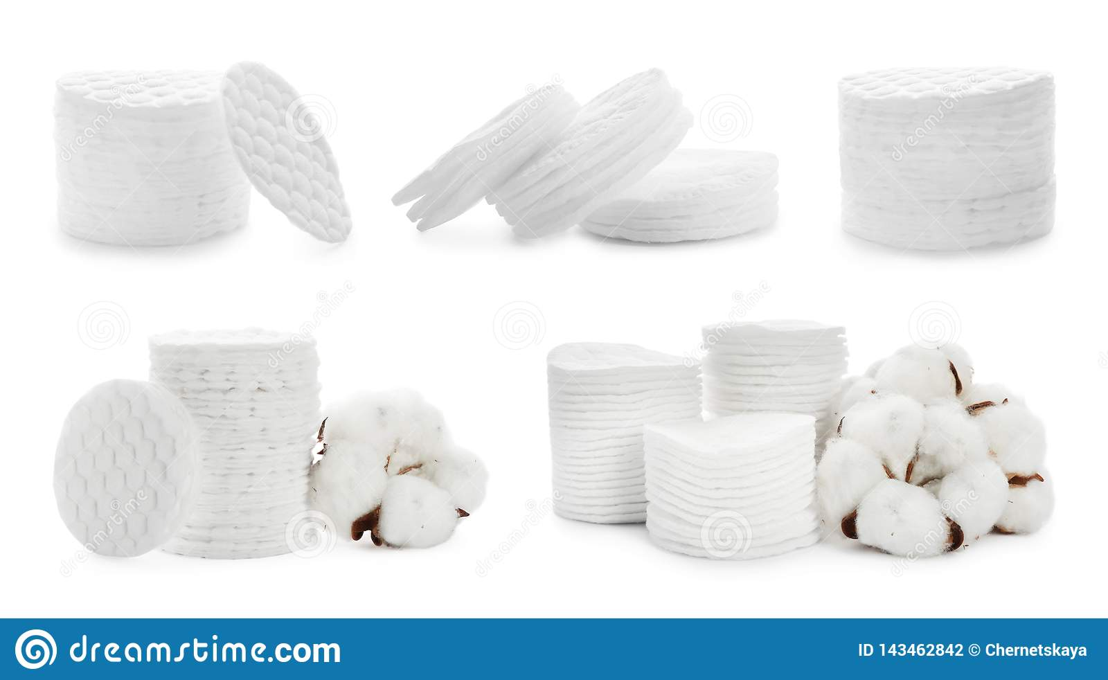 Set of stacked cotton pads and flowers on white