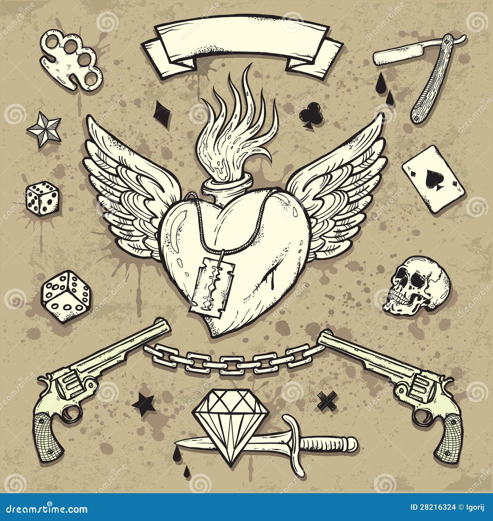 Set stara szkoła tatuażu elementy