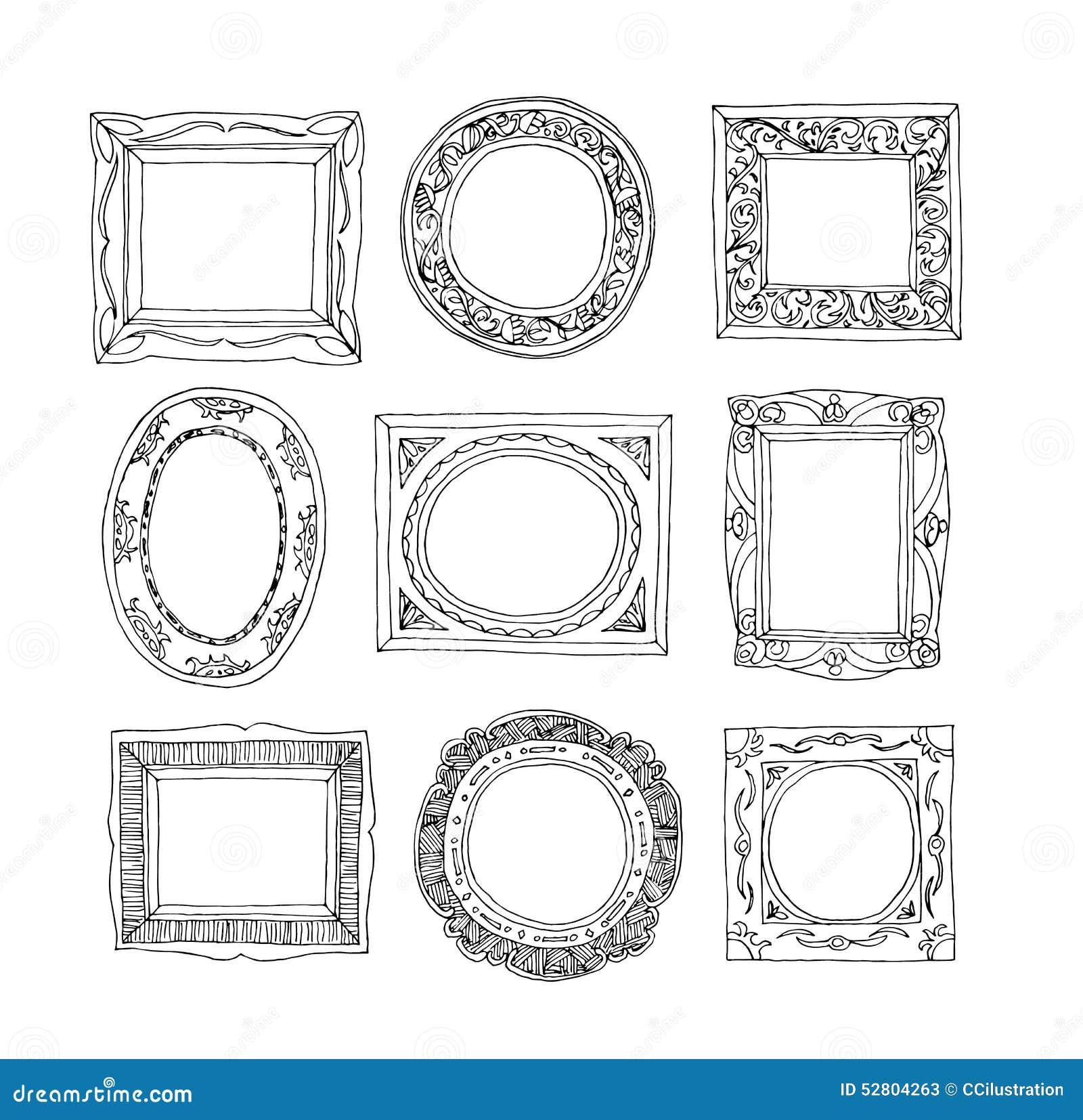 Set stare obrazek ramy, ręka rysująca wektorowa ilustracja