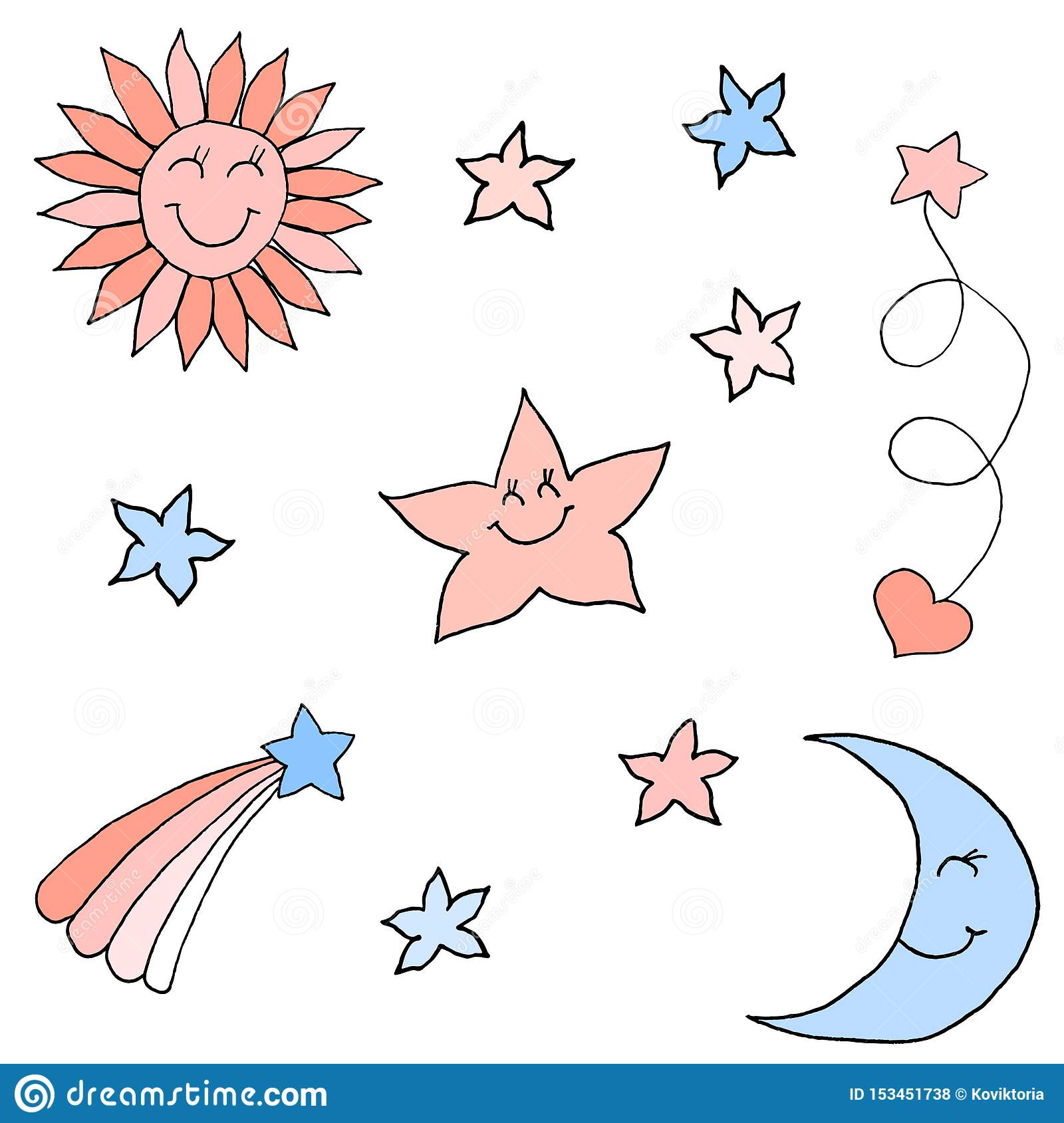 Set of stars in the sky. Colorful hand drawing sketch. Black outline on white background. Vector illustration