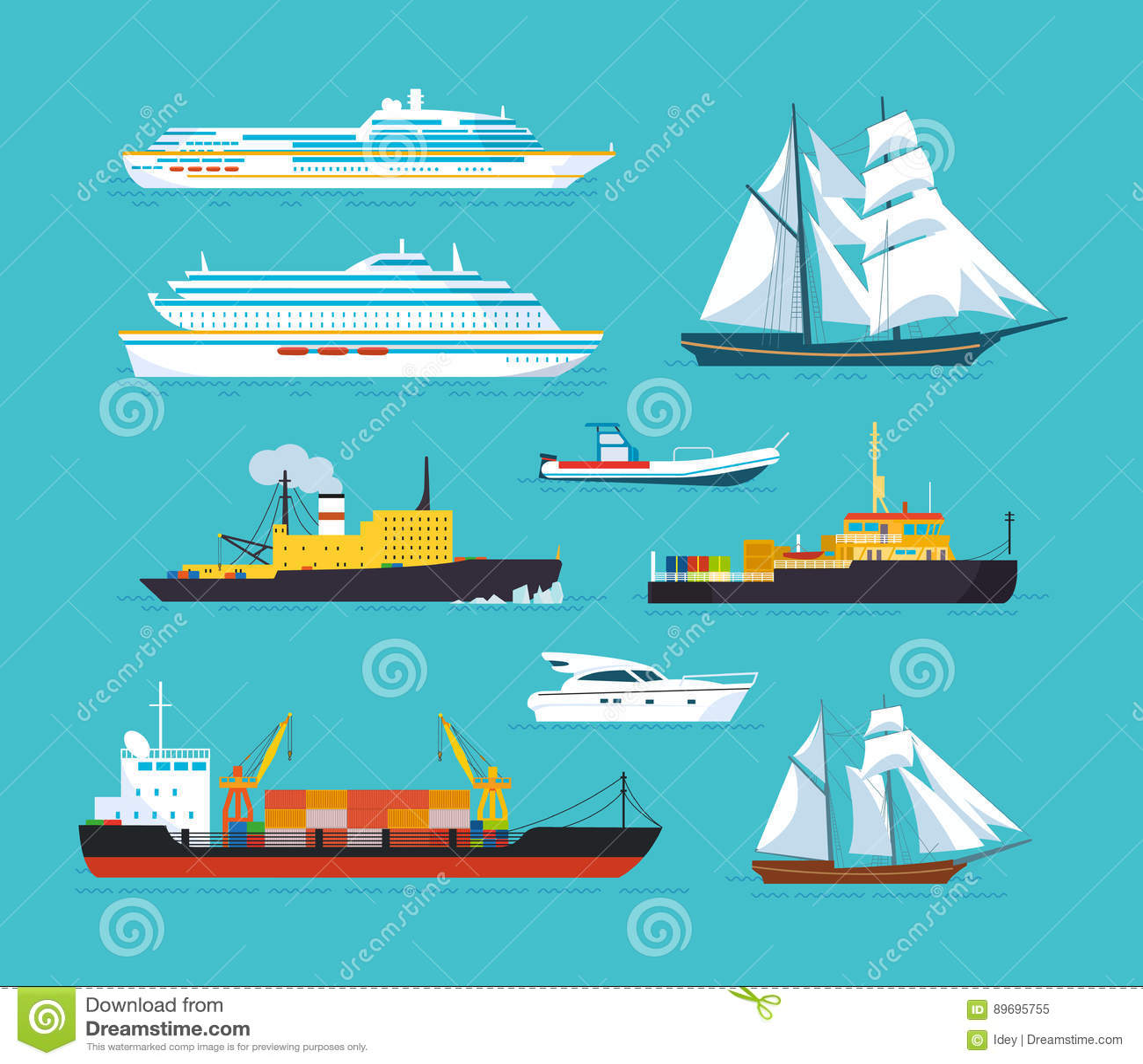 Set statki w nowożytnym mieszkanie stylu: statki, łodzie, promy