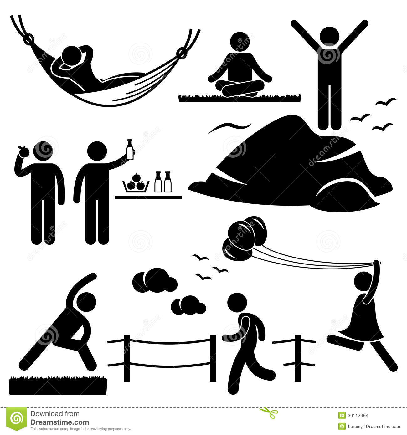 set of stick figure people pictograms representing healthy lifestyle ...