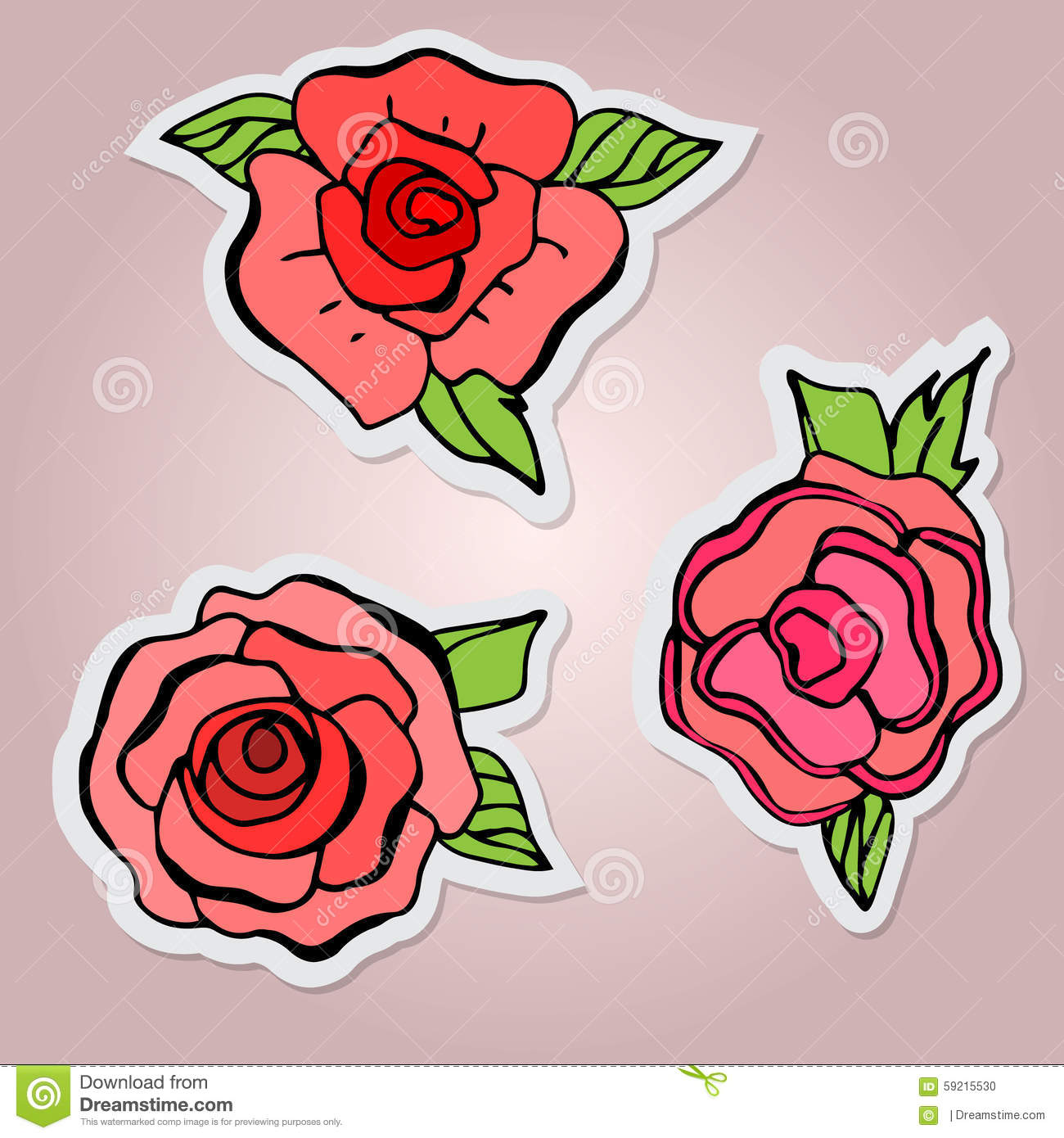 Set of stickers beautiful isolated flowers red roses with leaf