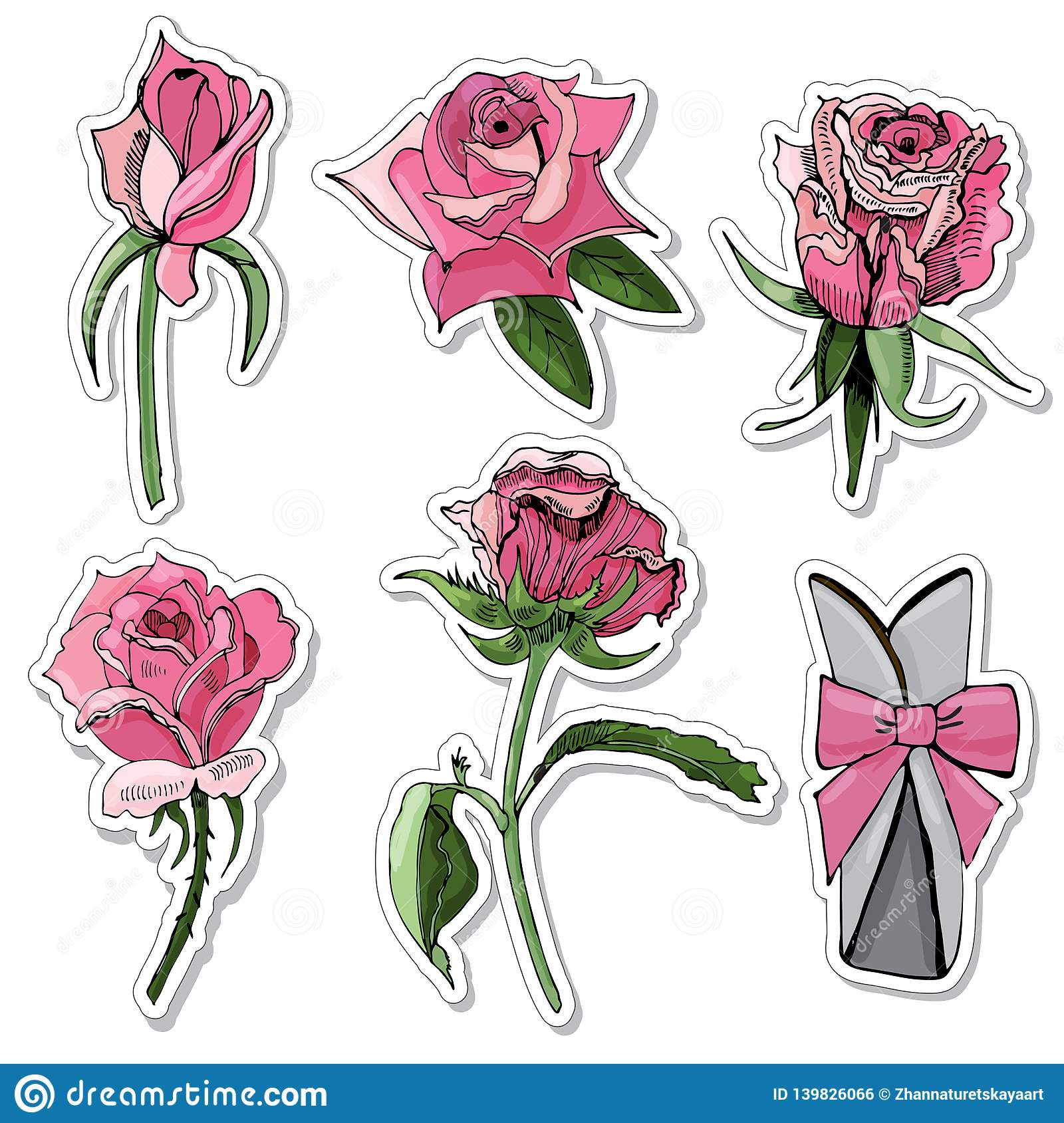 Set Of Stickers Of Blossoming Color Rose Flowers, Bow And