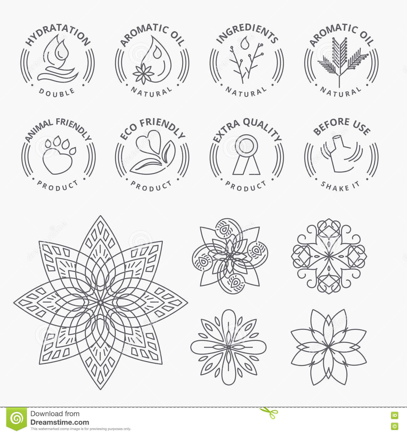 Set of stickers and elements for natural products, beauty and cosmetics