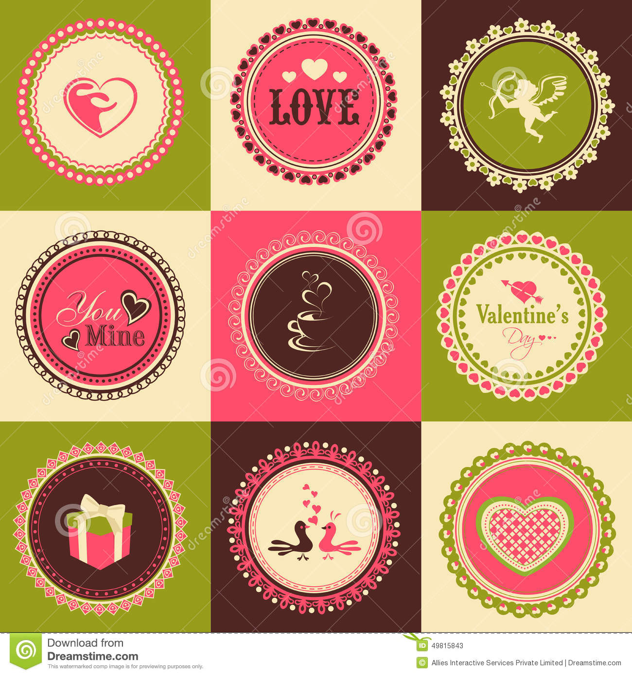Set Of Stickers Or Labels For Happy Valentines Day