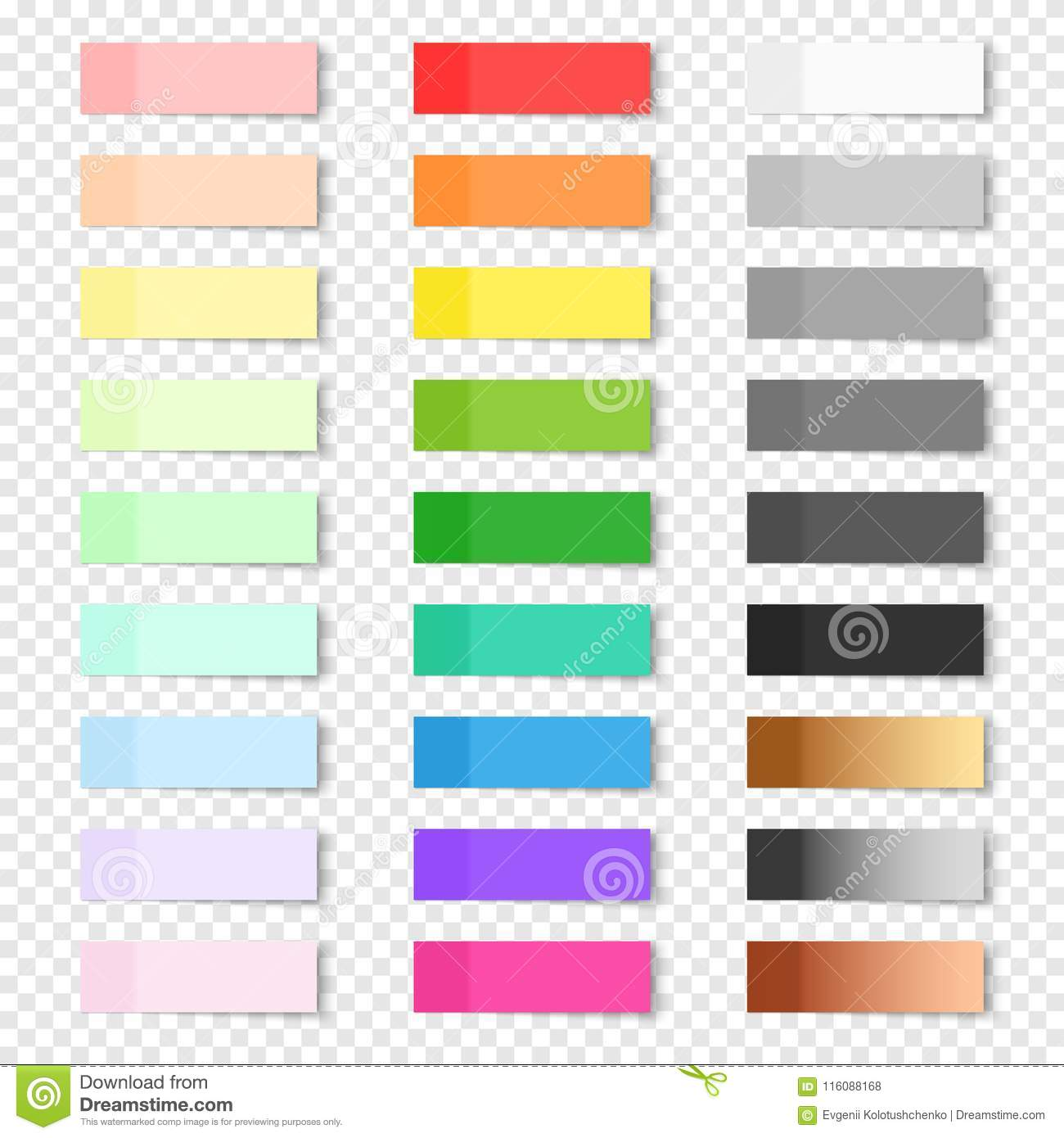 Set Of Sticky Notes On Transparent Background Stock Vector
