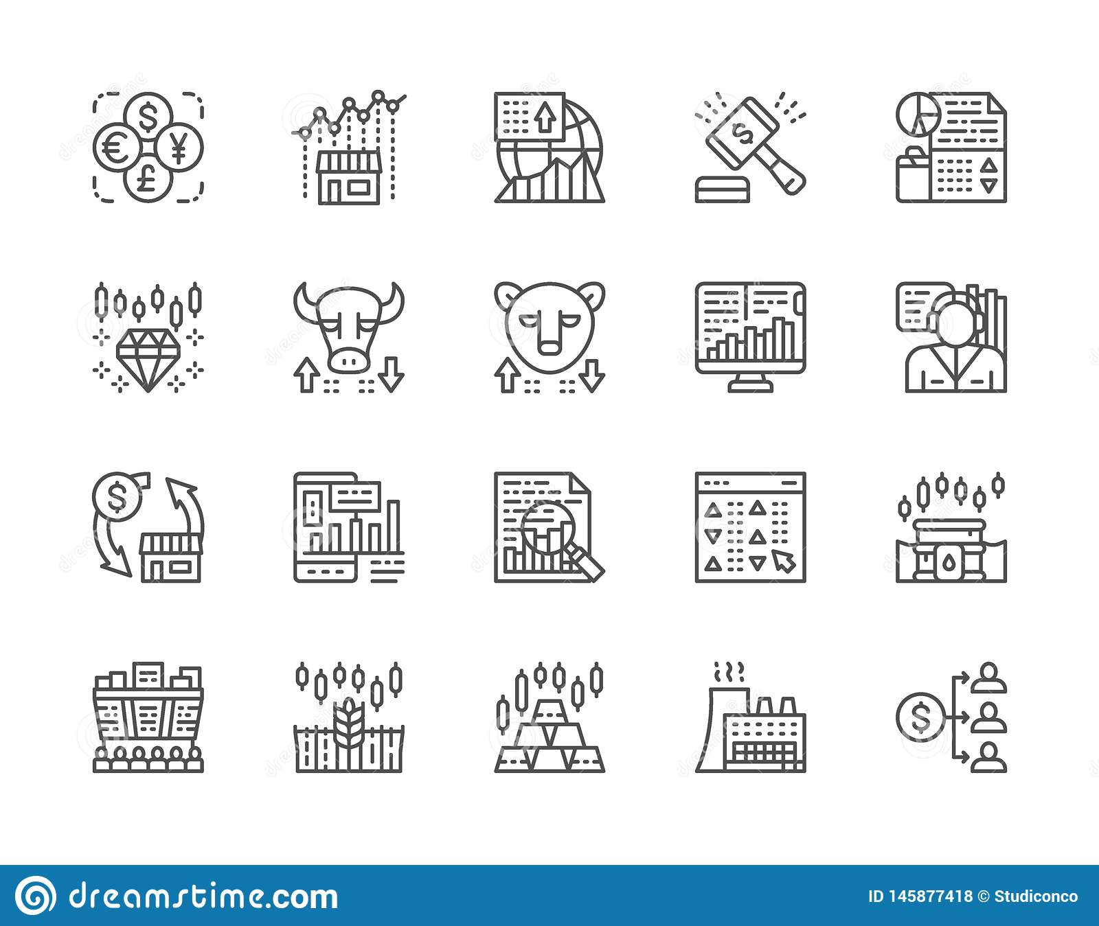 Set of Stock Market Line Icons. Bull and Bear Market, Trader, Dividend and more.