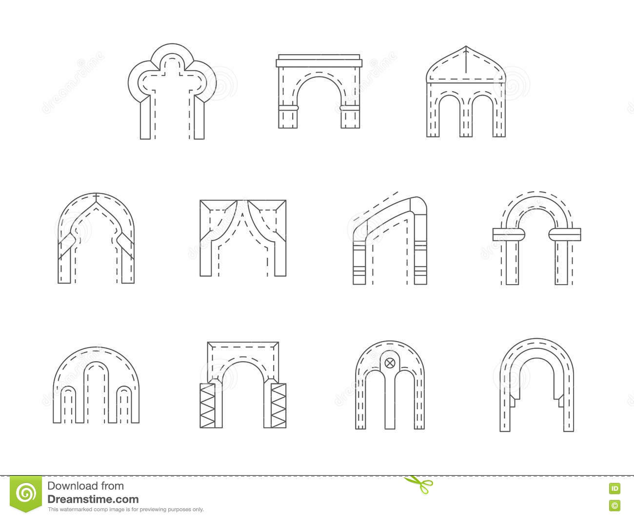 Set of stone archway flat line icons stock photo image for Types of architecture design