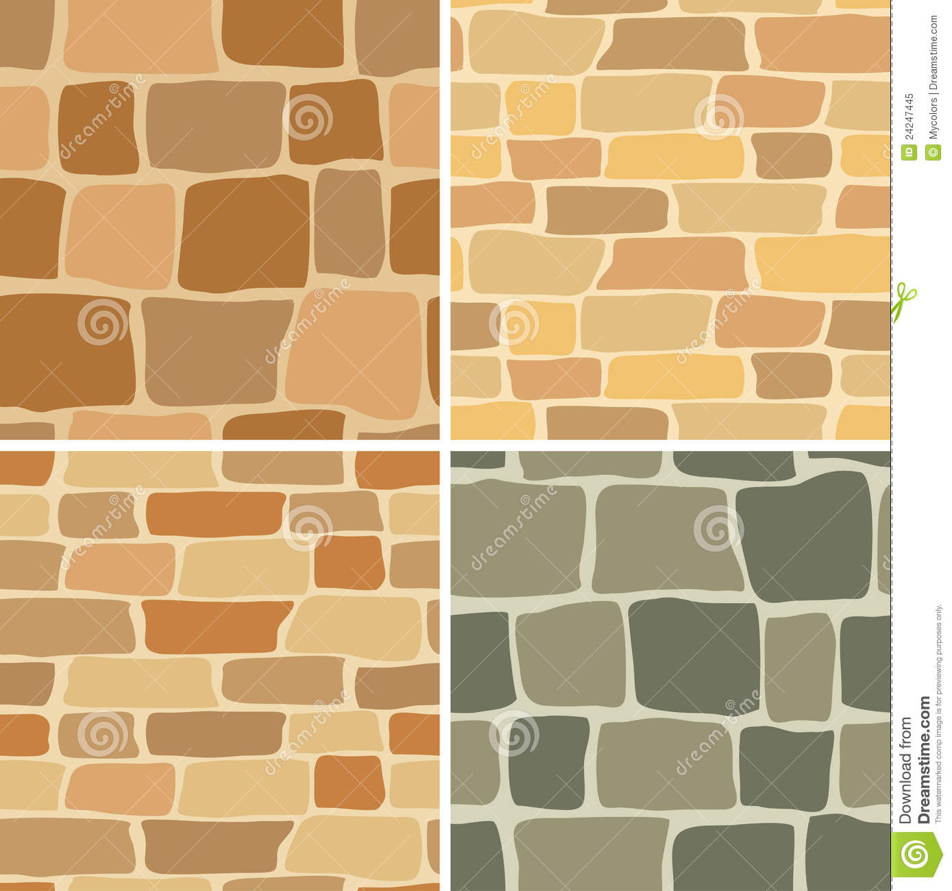 Set - Stone Wall - Seamless Patterns - Vector Stock Vector ...