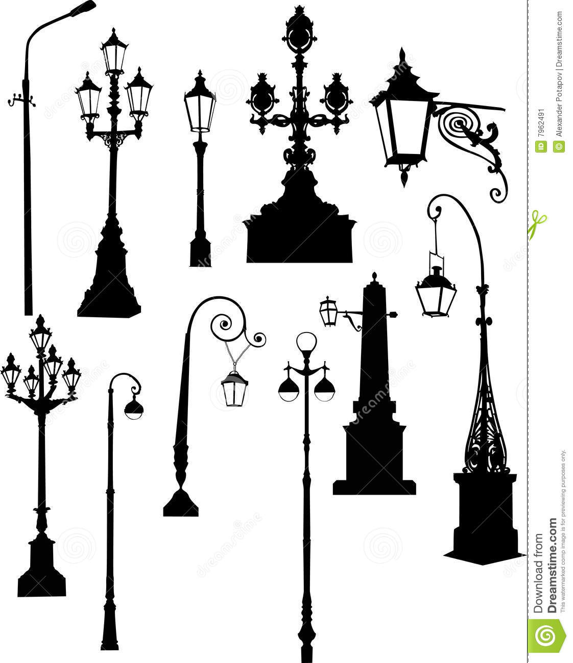 Set Of Street Lamps Stock Illustration Image Of Lighting