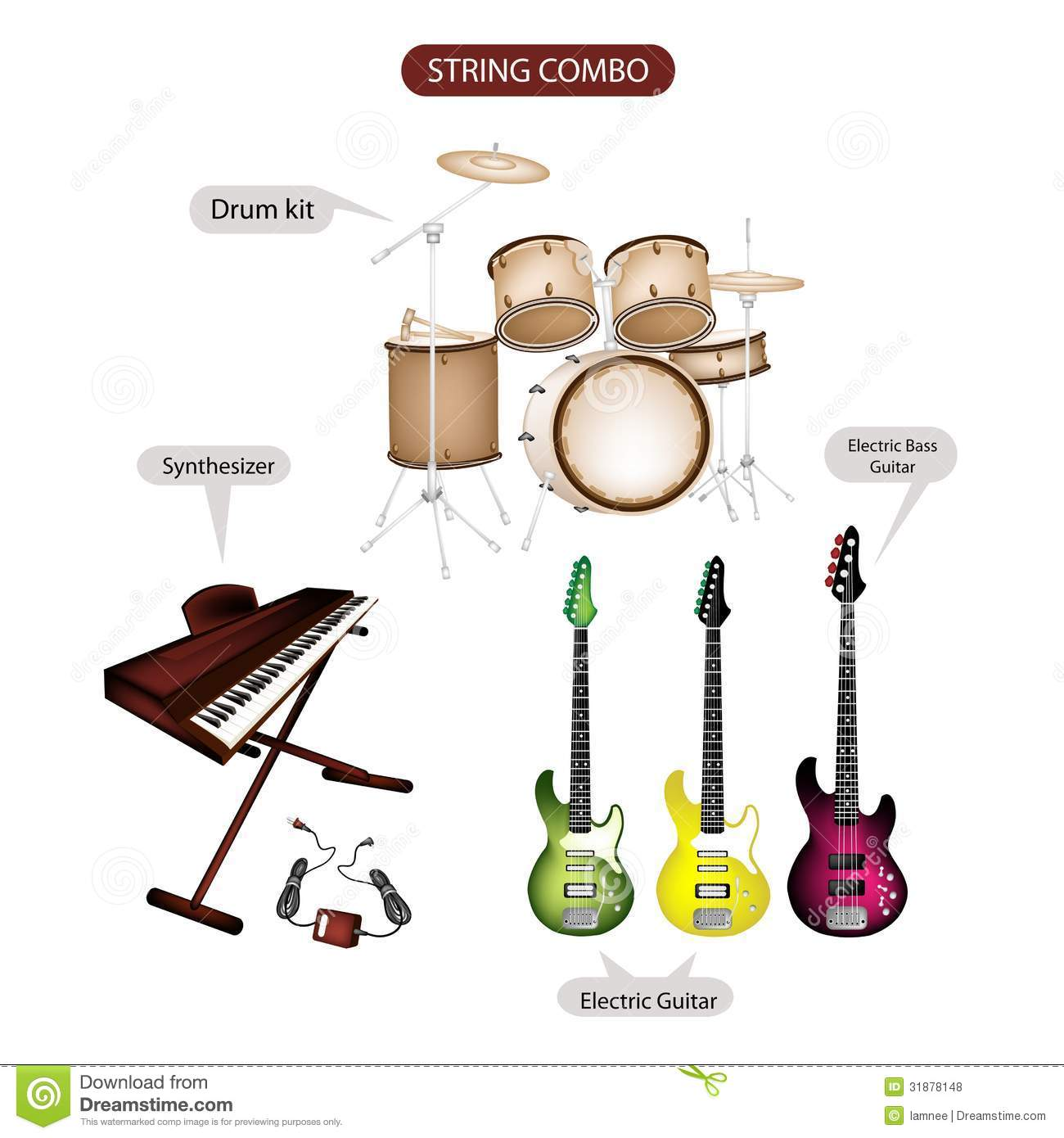 a set of string combo music equipment stock photo image of bass keyboard 31878148. Black Bedroom Furniture Sets. Home Design Ideas