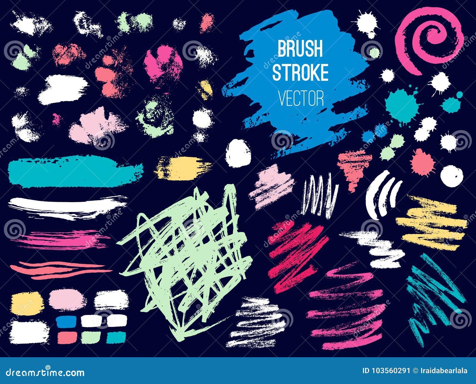 set stroke spot blod brush pen marker chalk stock illustration