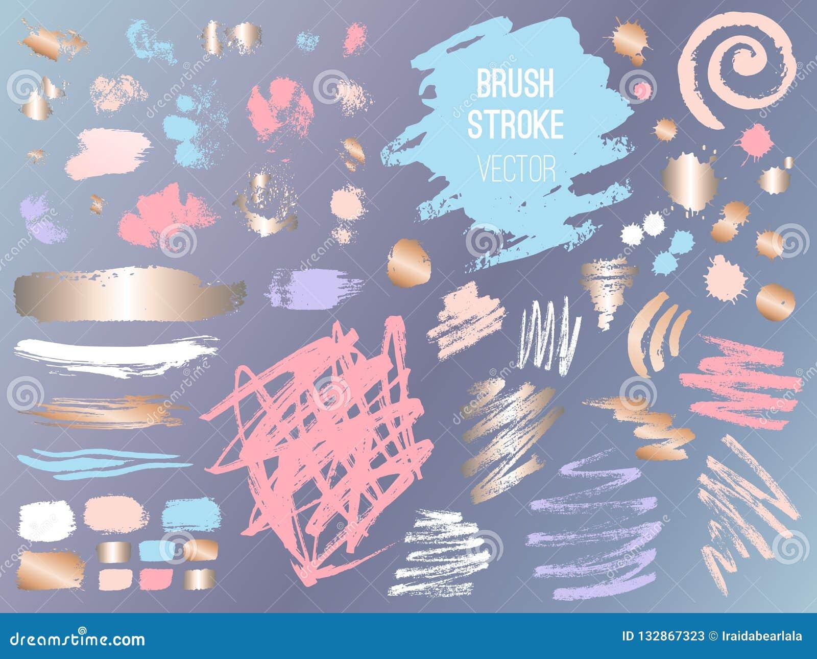 Set stroke spot golden pink blog. Brush, pen, marker, chalk, brush stroke, lines, points, gold.