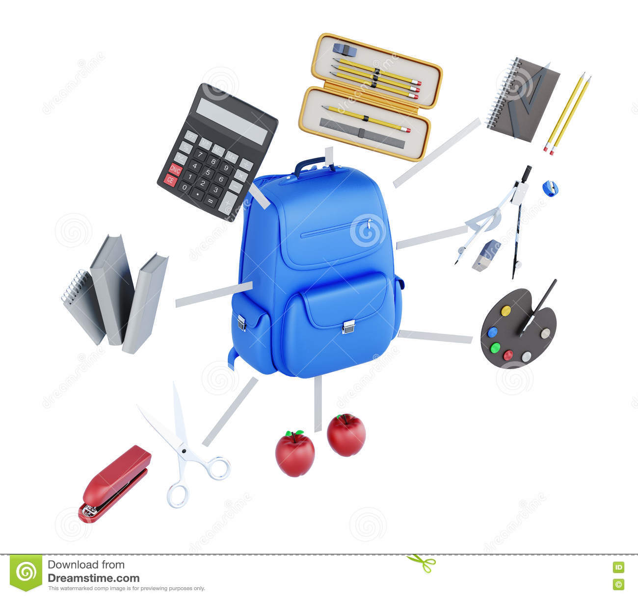 Set Of Student Conceptual Image On White Background 3d Stock