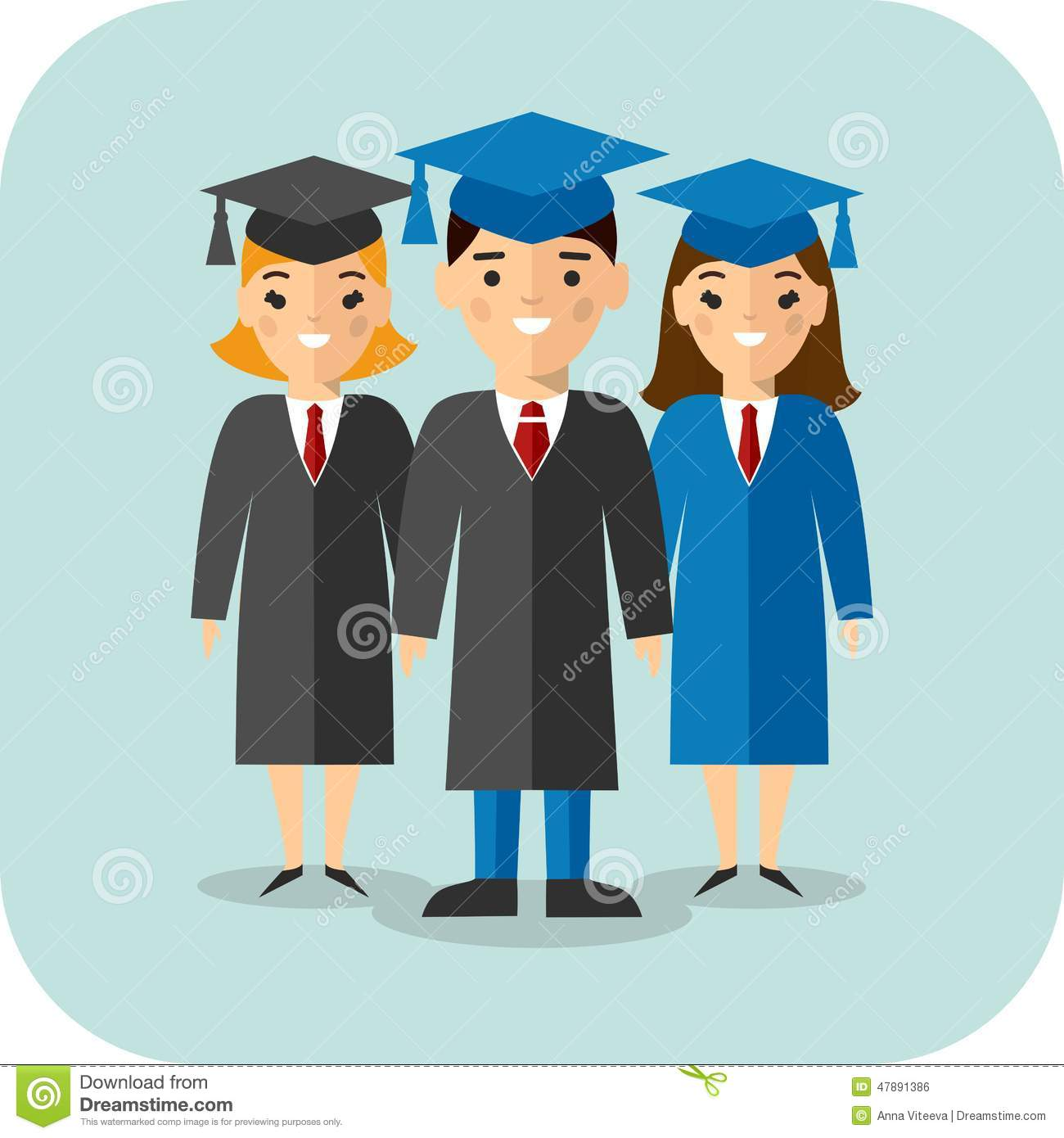 Set Of Students In Graduation Gown And Mortarboard Illustration ...