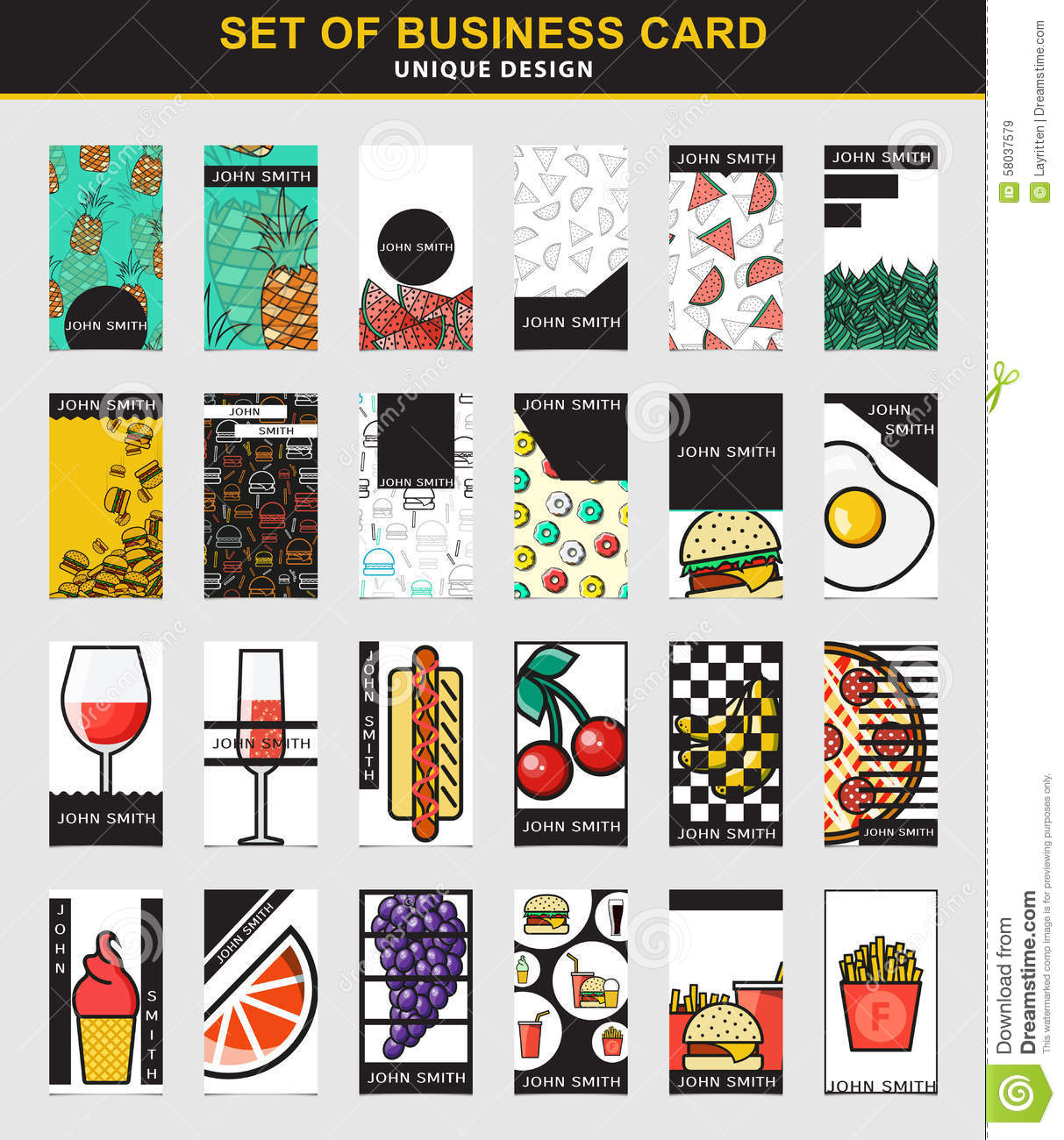 Set of 24 stylish business card design for food industry stock download set of 24 stylish business card design for food industry stock vector illustration of colourmoves