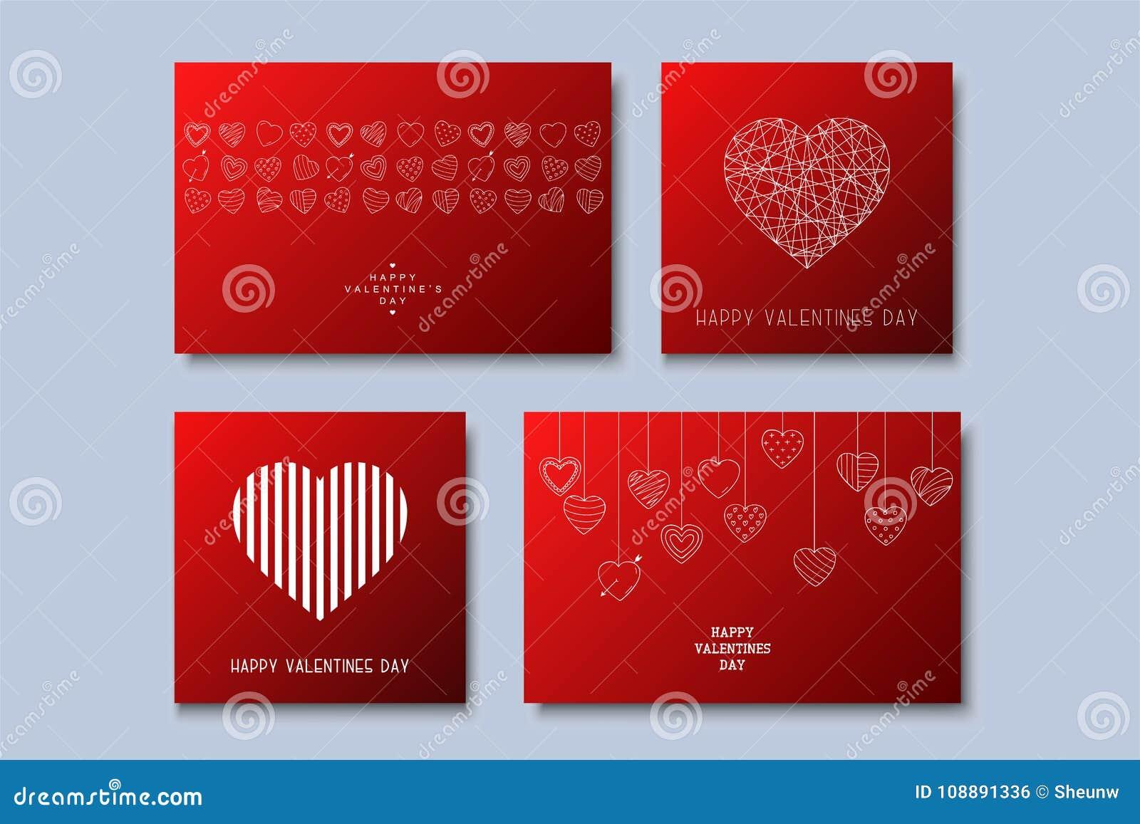 Set Of Stylish Greeting Cardspostersbrochures Happy Valentines