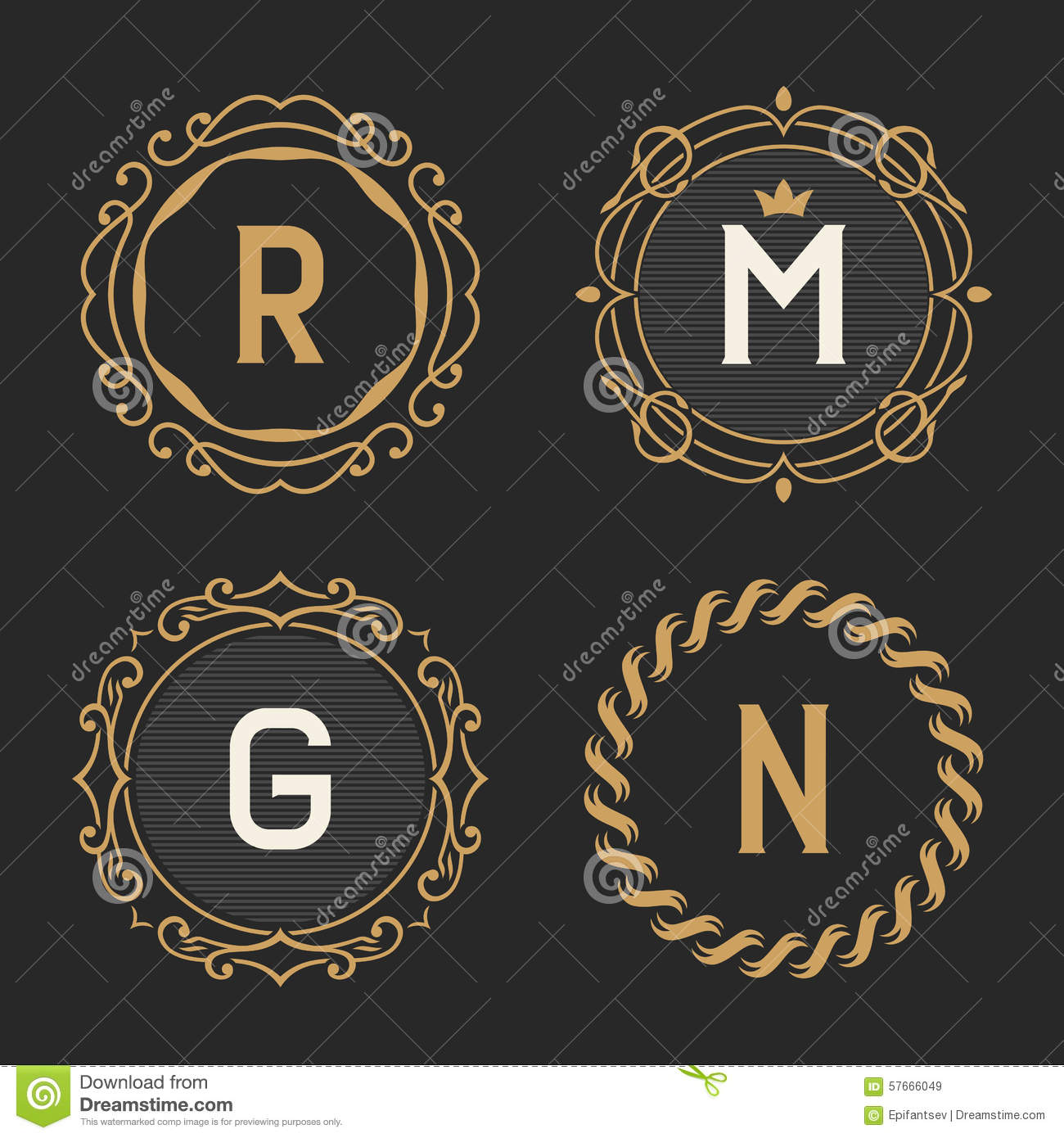 The set of stylish vintage monogram emblem and logo for Boutique hotel logo