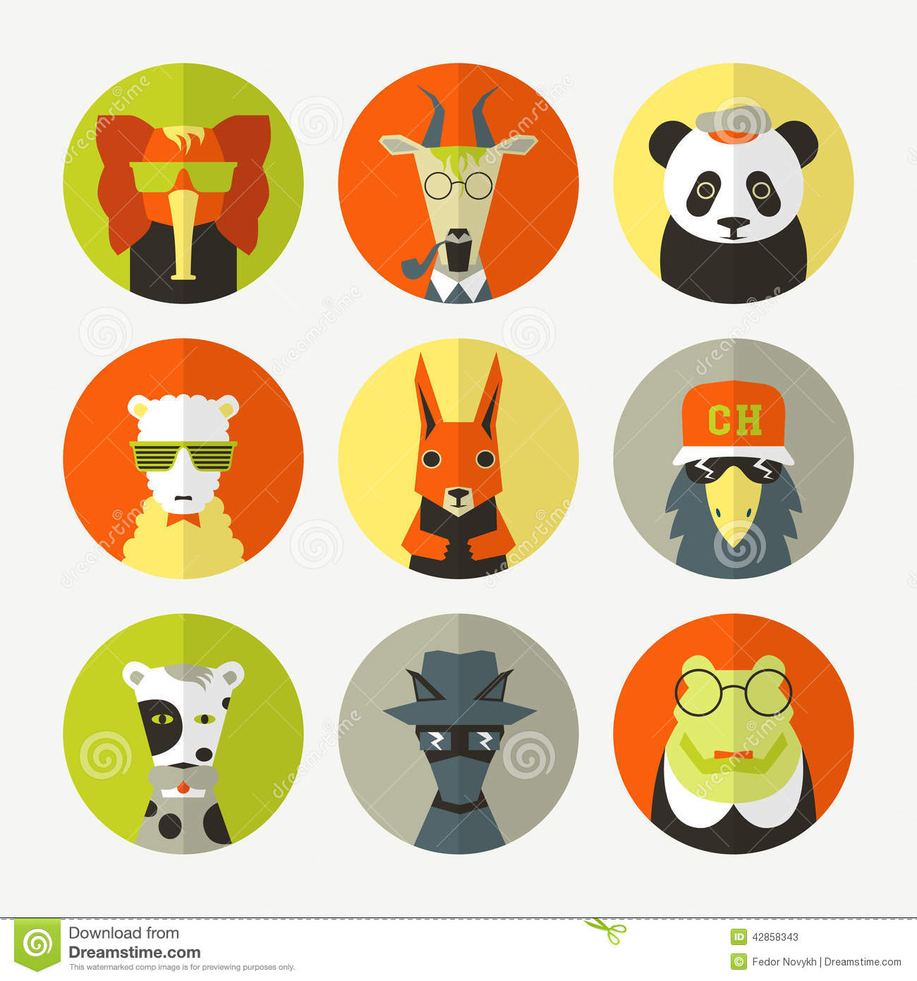 Avatar 2 Animals: Set Of Stylized Animal Avatar Stock Vector