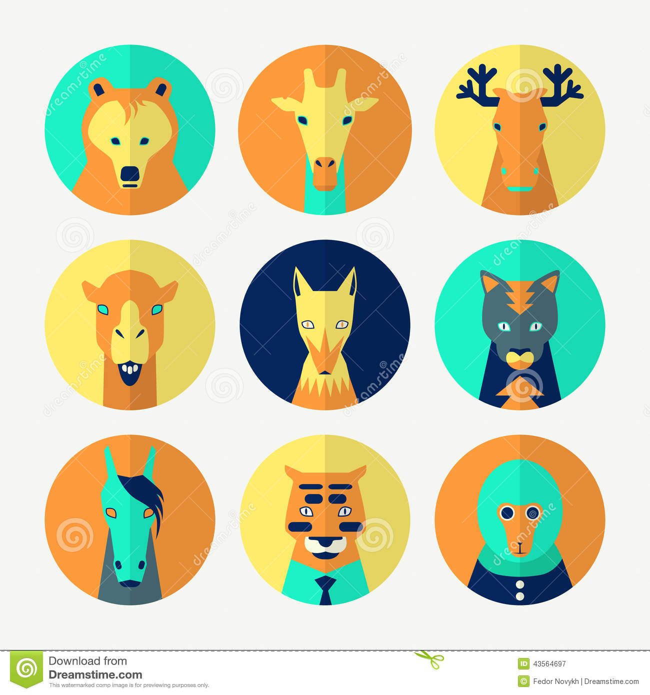 Avatar 2 Animals: Set Of Stylized Animal Avatar Stock Photo