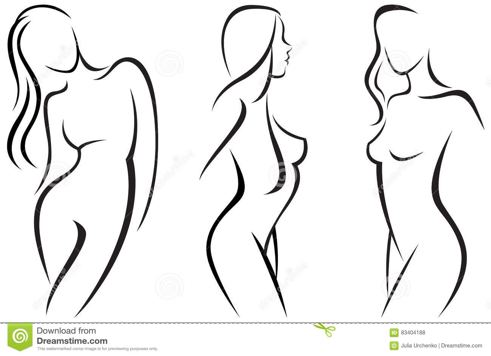 Set Stylized Beautiful Women Silhouettes Stock Vector Illustration