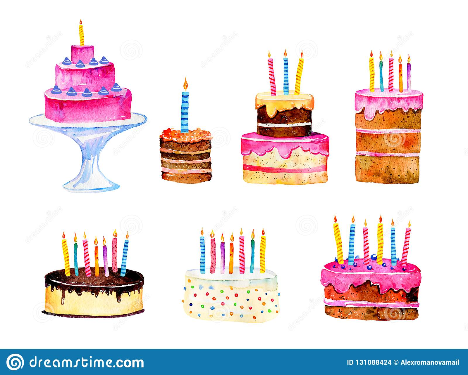 Set Of Stylized Birthday Cakes With Candles Hand Drawn Cartoon Watercolor Sketch Illustration Isolated On White Background