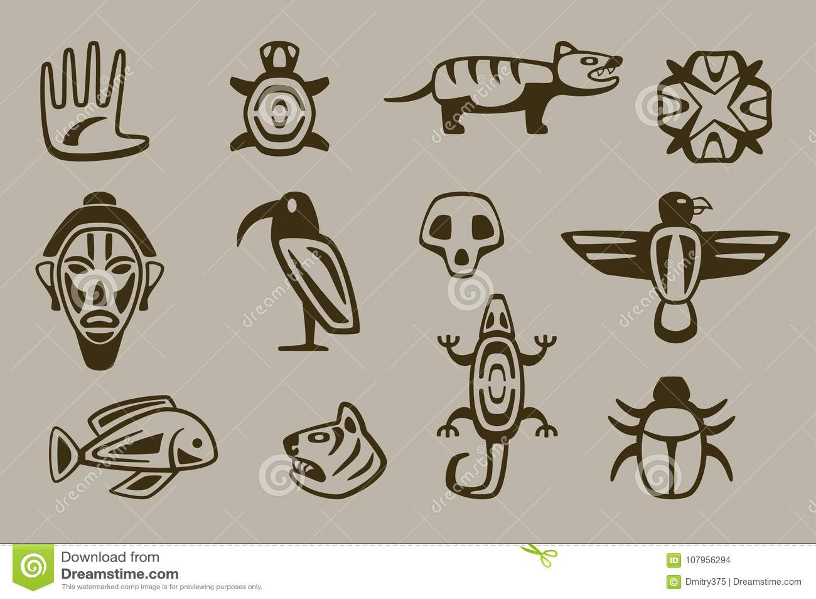 Set Of Stylized Native American Symbols Stock Vector Illustration