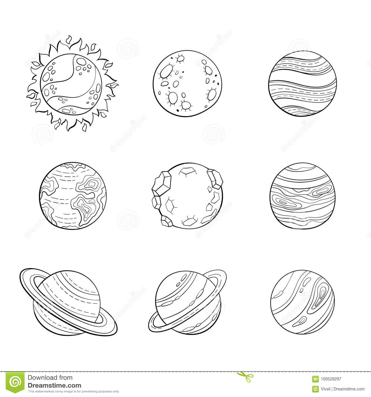 Vector Cartoon Planets, Education Space Illustration For ...