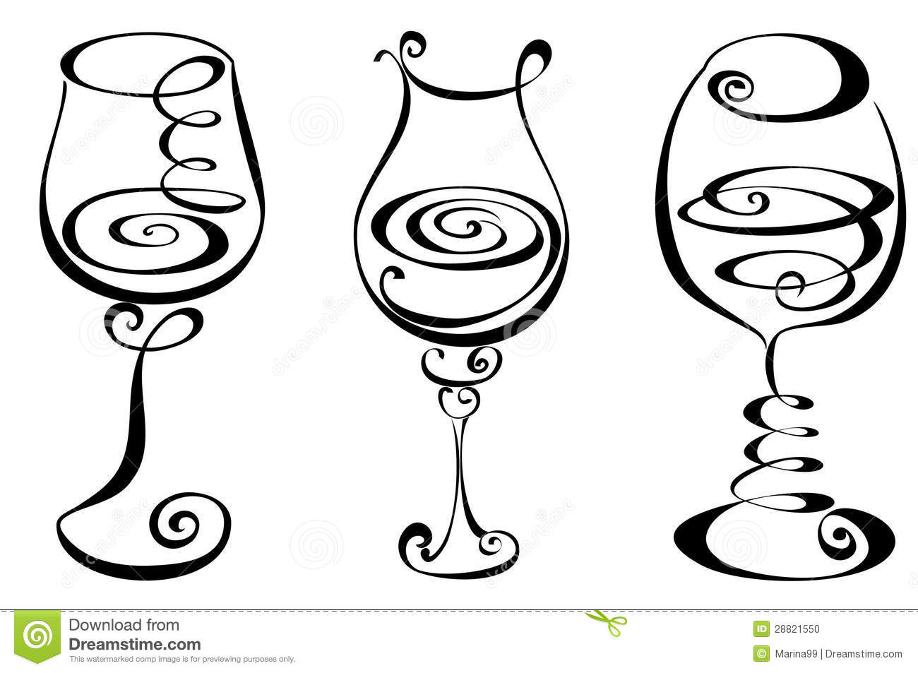 Stylized black and white wine glass.