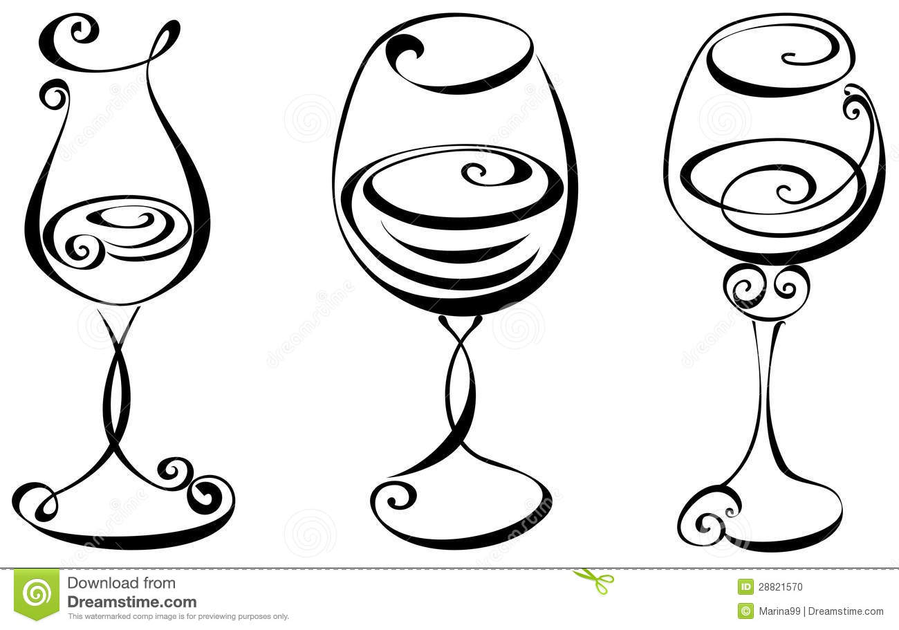 Black And White Clipart Wine Glass