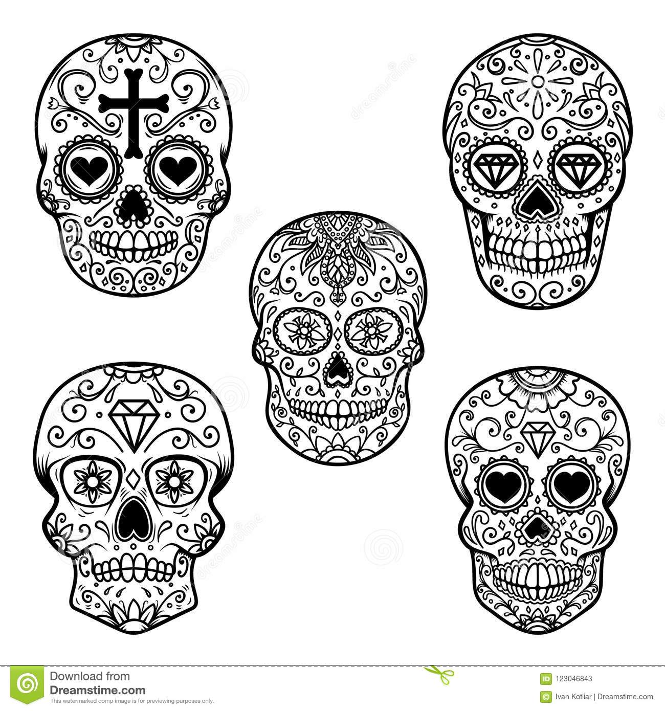 set of sugar skull isolated on white background day of the dead