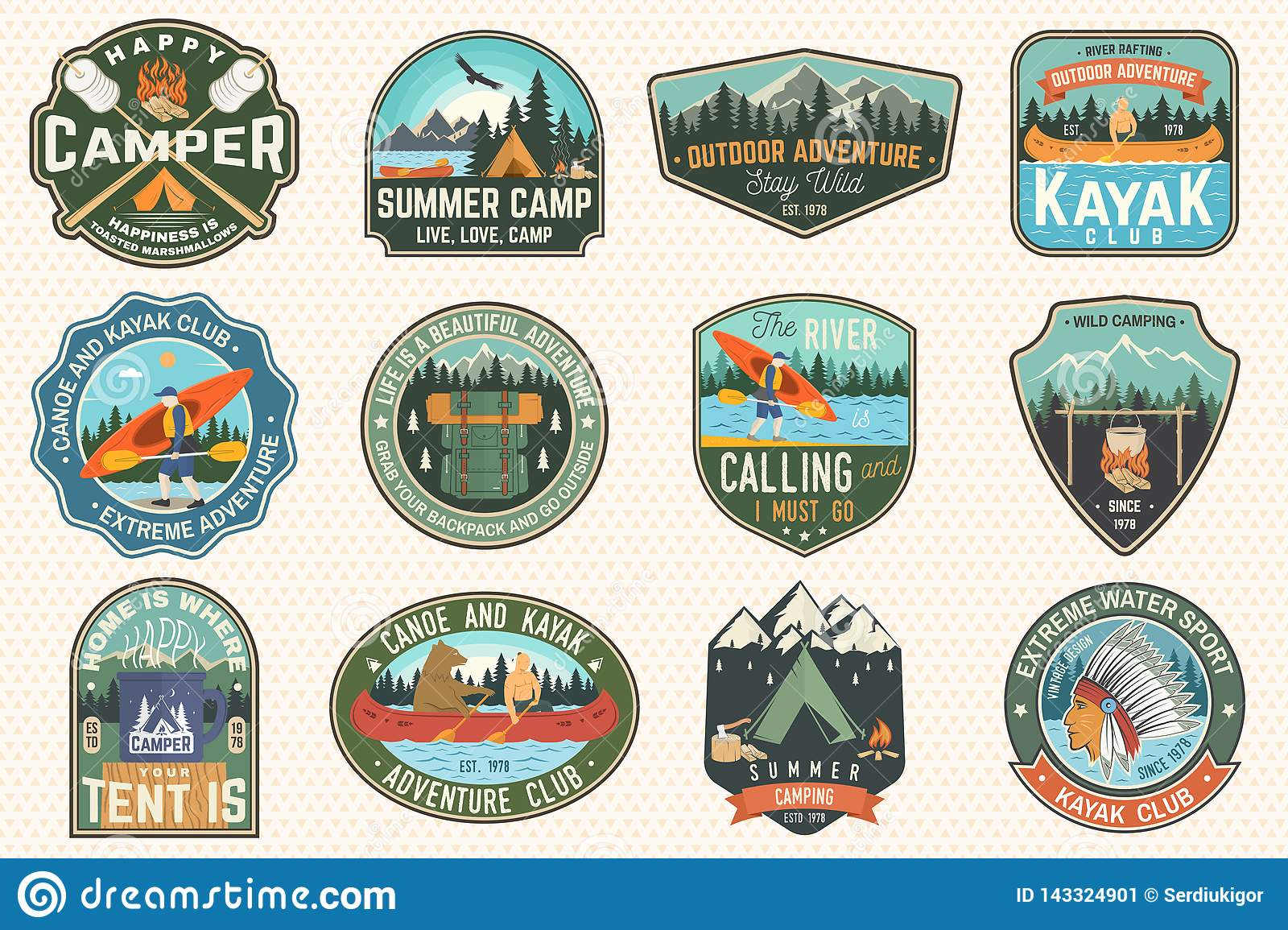 Set of summer camp, canoe and kayak club badges. Vector. For patch. Design with camping, mountain, river, american