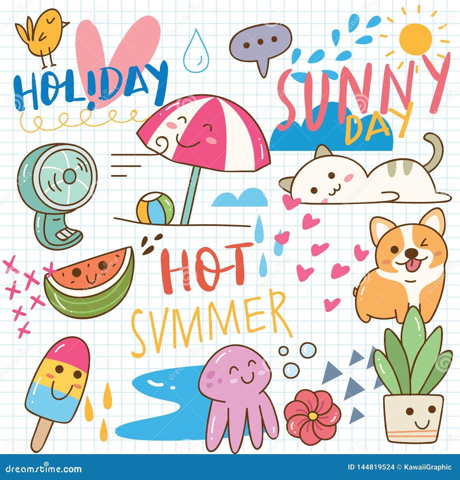 Set of summer doodle collage