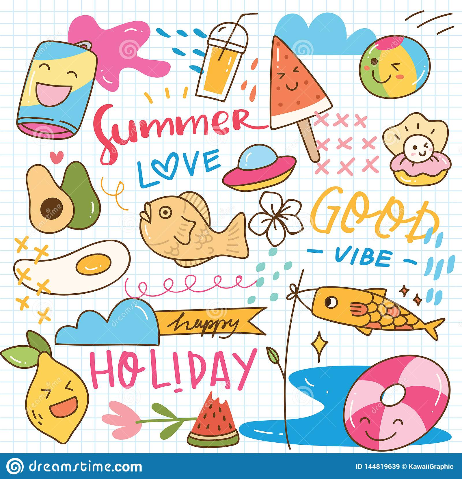 Set Of Summer Doodle Collage Stock Vector Illustration Of
