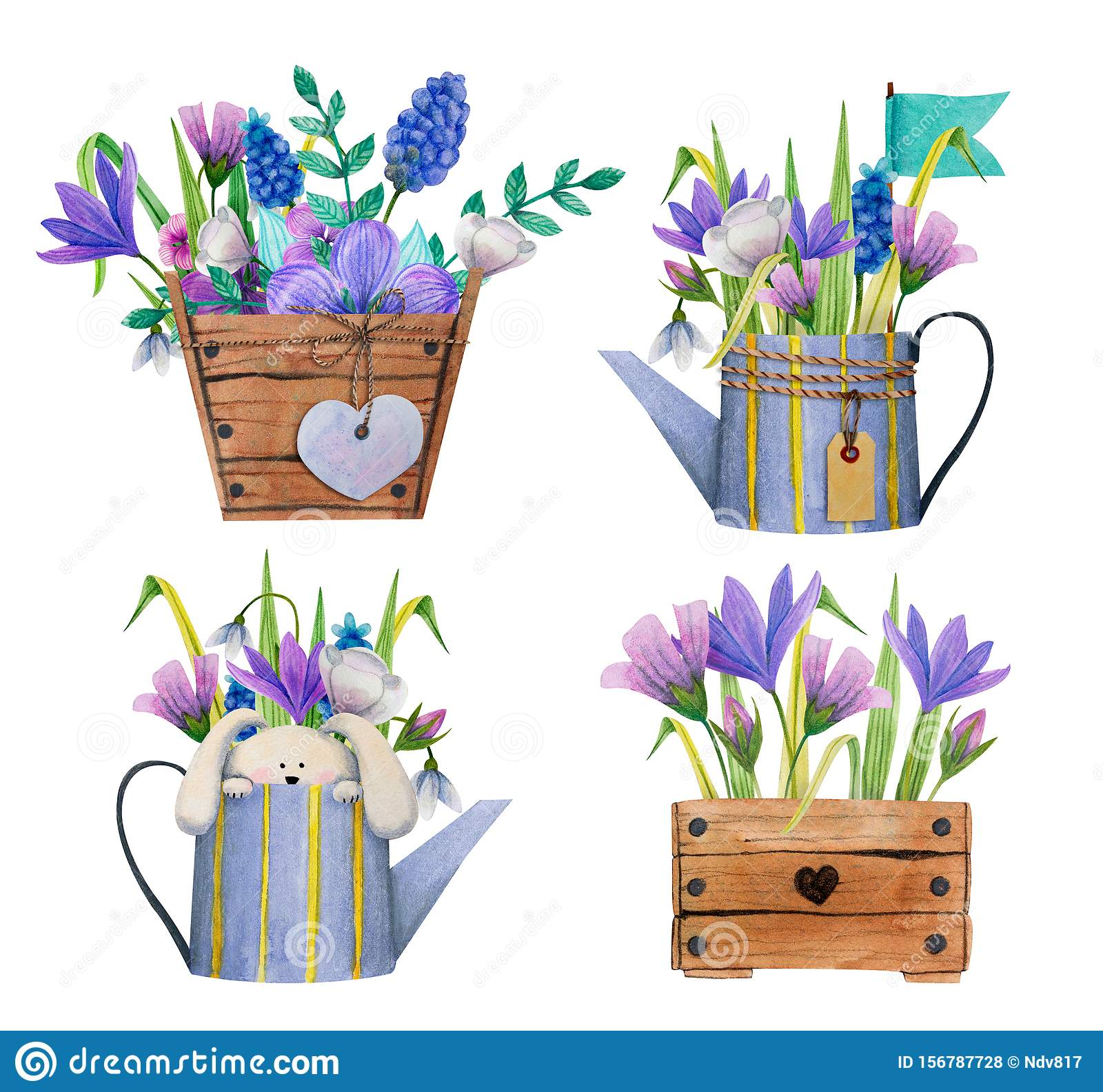 Set Of Summer Garden Easter Birthday Spring Bouquets With